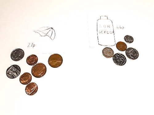 Practising making the right amount of money using different coins.