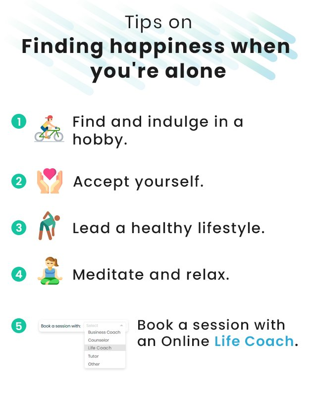 How to be happy alone - infographic