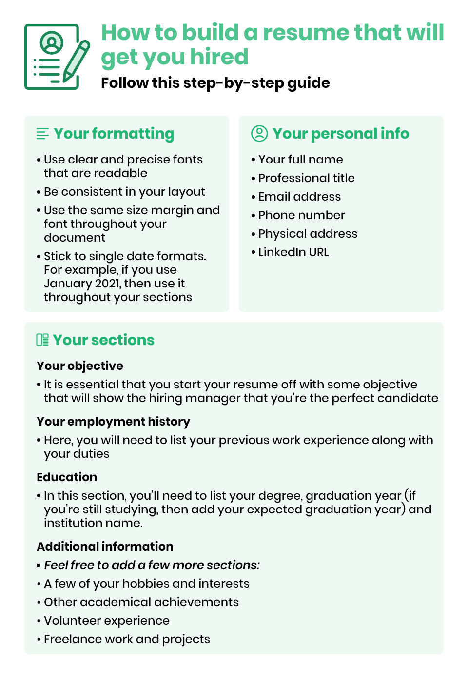 How to build a resume guide