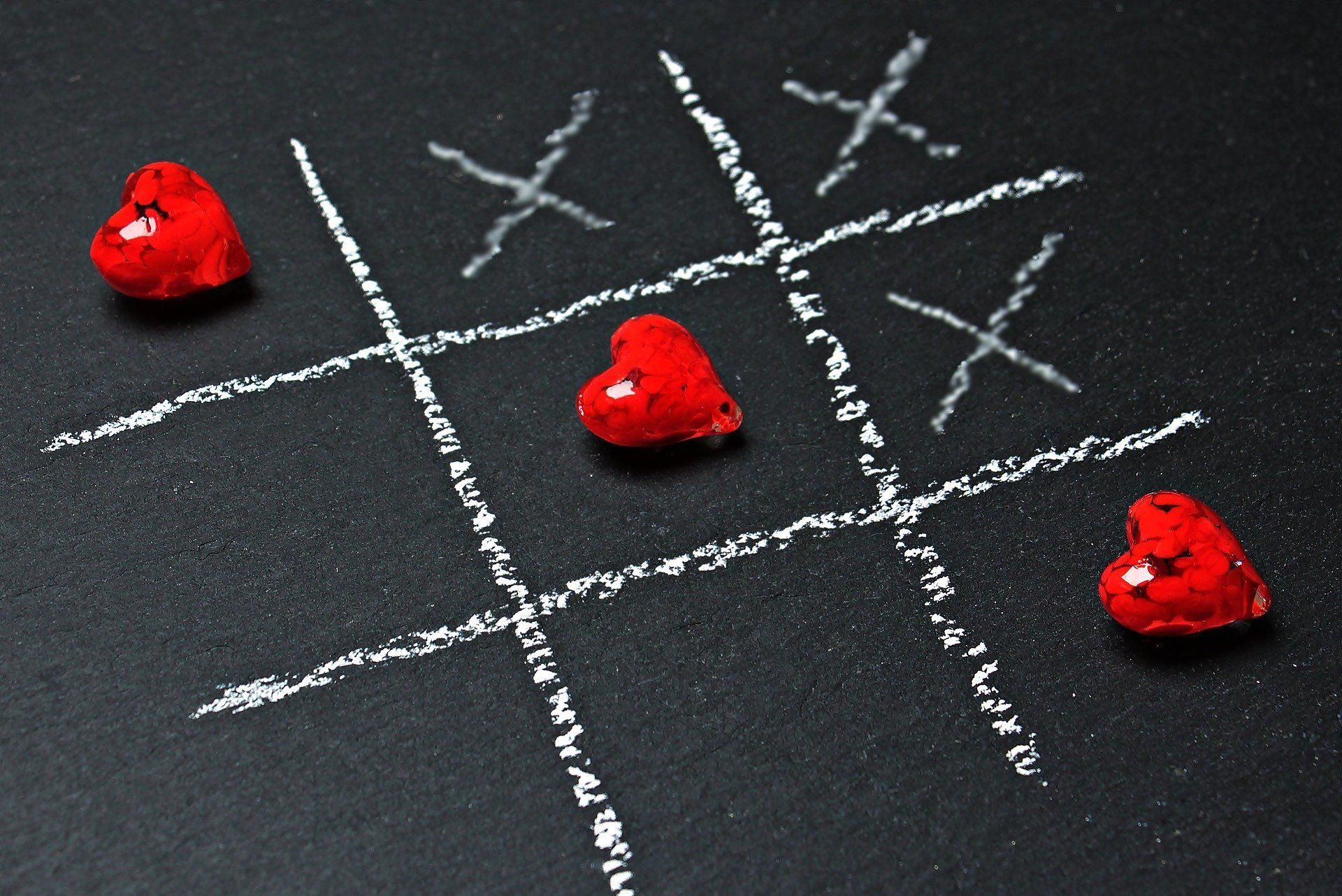 hearts on a x and o game